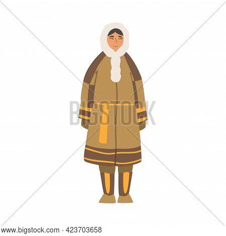 Polar Girl Character, North People Wearing Warm Traditional Eskimos Clothing Cartoon Vector Illustra