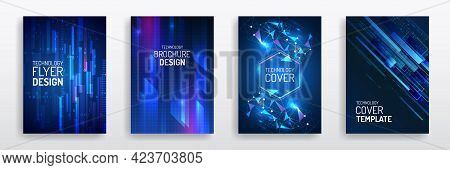 Futuristic Business Cover Layout. Technology Modern Brochure Templates. Set Of Science And Innovatio
