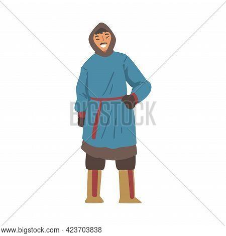 Cheerful Polar Man Character, North Eskimo Man In Traditional Clothing Cartoon Vector Illustratio