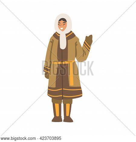 Polar Woman Character Waving Her Hand, North Girl In Traditional Eskimos Clothing Cartoon Vector Ill