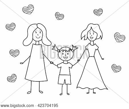 Lgbt Family Doodle. Children's Drawing. Two Happy Lesbian Women With Girl. Vector Hand Drawing Illus