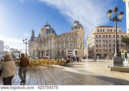 Cartagena, Murcia Region, Spain - November 17, 2017: People Are Resting In A Cafe In The Square Next
