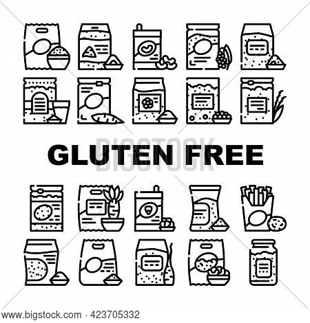 Gluten Free Products Collection Icons Set Vector. Gluten Free Rice And Quinoa Porridge Food, Beans A