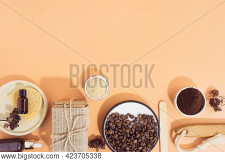 Homemade Cosmetics With Coffee Scrub And Oil. Set Of Home Spa Cosmetic Products. Dry Brush, Coffee S