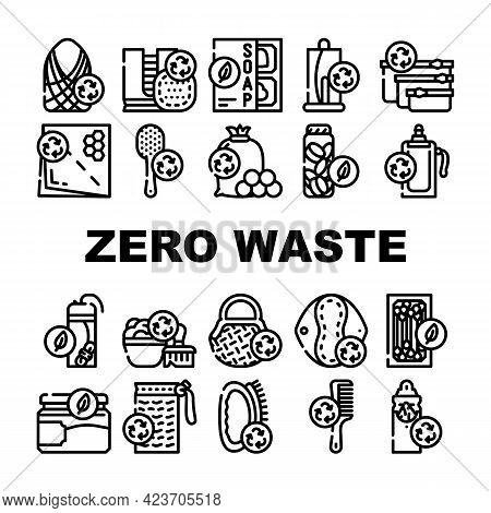 Zero Waste Products Collection Icons Set Vector. Zero Waste Hairbrush And Toothbrush, Bag And Reusab