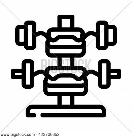 W-barbell Gym Equipment Line Icon Vector. W-barbell Gym Equipment Sign. Isolated Contour Symbol Blac