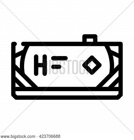 Transport Tank Hydrogen Line Icon Vector. Transport Tank Hydrogen Sign. Isolated Contour Symbol Blac