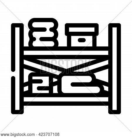 Storaging Design Shelves Line Icon Vector. Storaging Design Shelves Sign. Isolated Contour Symbol Bl