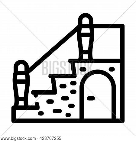 Staircase With Wardrobe Line Icon Vector. Staircase With Wardrobe Sign. Isolated Contour Symbol Blac