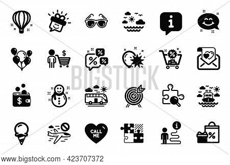 Vector Set Of Holidays Icons Related To Ice Cream, Call Me And Smile Chat Icons. Buyer, Shopping And