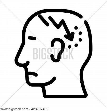 Lightning Neurosis Or Headache Pain Line Icon Vector. Lightning Neurosis Or Headache Pain Sign. Isol