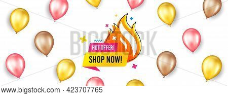 Hot Offer Sale Banner. Promotion Ad Banner With 3d Balloons. Discount Sticker Shape. Special Offer I