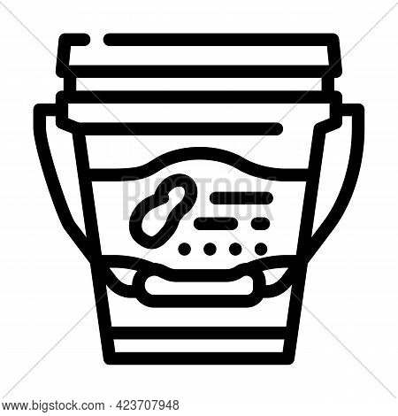 Bucket With Peanut Butter Line Icon Vector. Bucket With Peanut Butter Sign. Isolated Contour Symbol