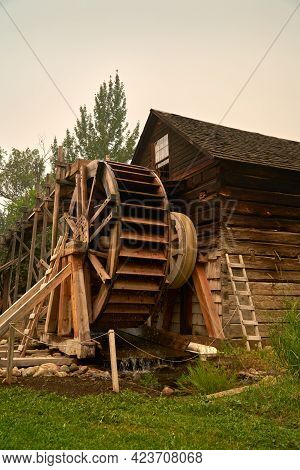 Keremeos, British Columbia, Canada - August 23, 2018. Historic Grist Mill Keremeos Vertical. The His