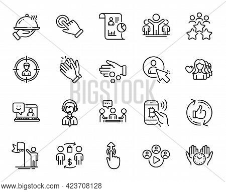 Vector Set Of Buying Process, Report And Leadership Line Icons Set. Video Conference, Headhunting An