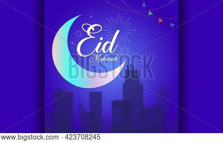 Eid Mubarak Greeting Card. Eid Mubarak Design For Eid Celebration. Eid Mubarak Social Media Post Des