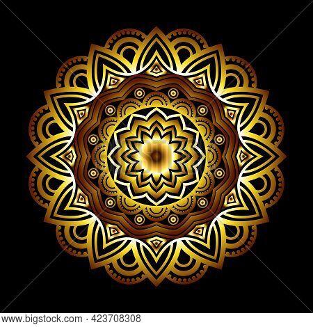 Arabesque Pattern Arabic Islamic East Style Luxury Mandala Golden Color Design. Decorative Mandala D