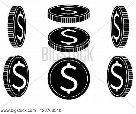 Coins Silhouette. A Set Of Coins From Different Angles. Abstract Or Game Money Drawn From Different