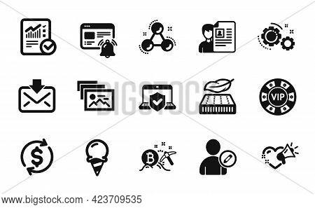 Vector Set Of Photo Album, Lightweight Mattress And Bitcoin Mining Icons Simple Set. Edit User, Gear
