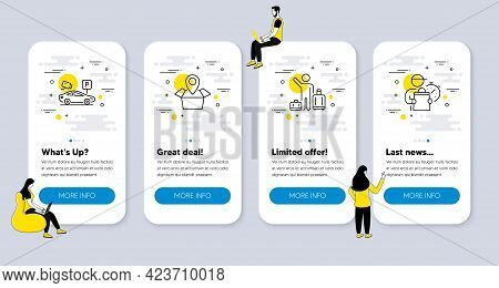 Vector Set Of Transportation Icons Related To Airport Transfer, Package Location And Parking Securit
