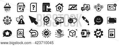Set Of Technology Icons, Such As Chemistry Pipette, Video Conference, Work Home Icons. Shower, Compu