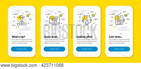 Vector Set Of Winner, Business Way And Web Tutorials Line Icons Set. Ui Phone App Screens With Line