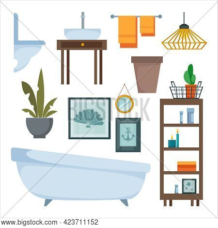 A Set Of Furniture And Items For Decorating The Interior Of The Bathroom And Toilet. Toilet, Bathtub