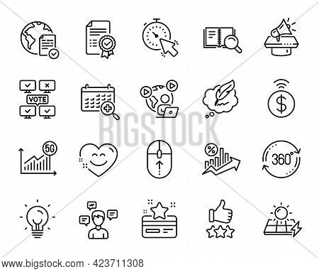 Vector Set Of Timer, Full Rotation And Online Voting Line Icons Set. Video Conference, Copyright Cha
