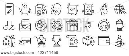 Set Of Line Icons, Such As International Copyright, Healthy Face, Money Wallet Icons. Report, Paymen