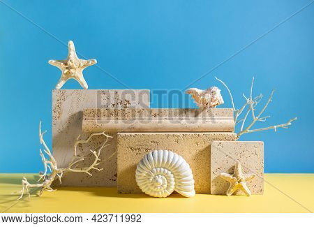 Abstract modern still life. Natural materials. Composition of seashells, sea star, travertine and concrete blocks.