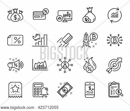 Vector Set Of Infographic Graph, Bitcoin System And Check Investment Line Icons Set. Bitcoin Project