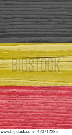 The Flag Of Belgium On Dry Cracked Wooden Surface. It Seems To Flutter In The Wind. Faded Paint. Ver