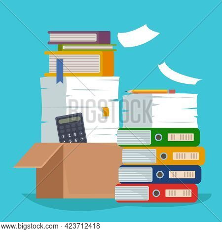 Heap Of Paper Document File Folders And Cardboard Boxes. Huge Pile Of Paperwork. Bureaucracy Concept