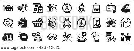 Set Of Business Icons, Such As User Info, Delete Purchase, Buyer Icons. Strong Arm, Report, Travel P