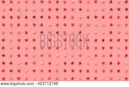 Valentines Day Hearts Background Pattern 3d Rendering Illustration  Love Celebration Poster, Greetin