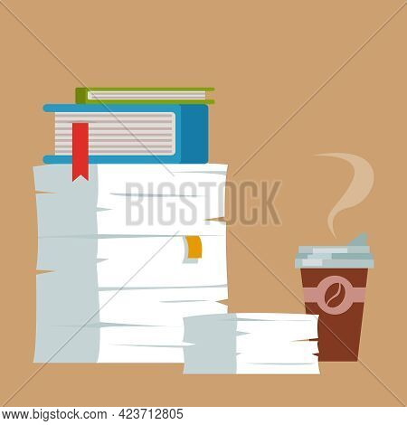 A Pile Of Folders Of Paper Documents And A Glass Of Coffee. Extracurricular Work. A Huge Pile Of Doc
