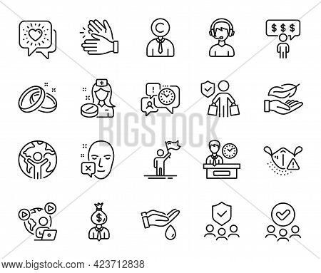 Vector Set Of Approved Group, Consultant And Friends Chat Line Icons Set. Medical Mask, Face Decline
