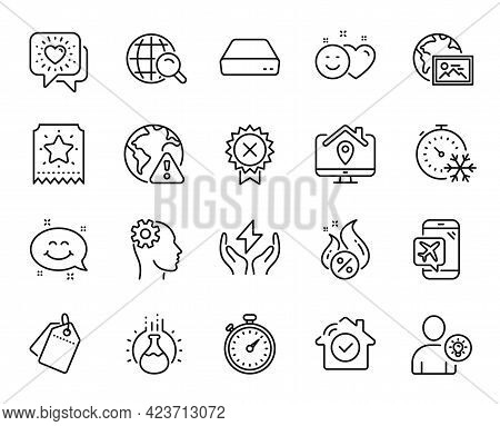 Vector Set Of Freezing Timer, Internet Search And Friends Chat Line Icons Set. Internet Warning, Hou