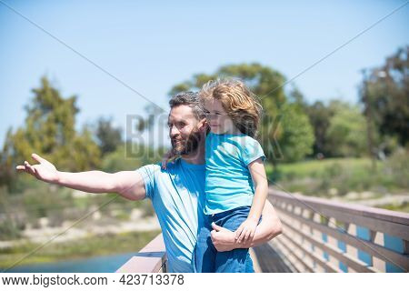 Its Really Wonderful, Parenting. Happy Father Point Finger Holding Son In Arms. Single Parenting