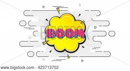 Boom Comic Cartoon Bubble Banner. Geometric Ad Banner On Flow Pattern. Discount Sticker Shape. Sale