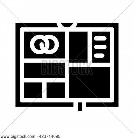 Photo Album Wedding Accessory Glyph Icon Vector. Photo Album Wedding Accessory Sign. Isolated Contou