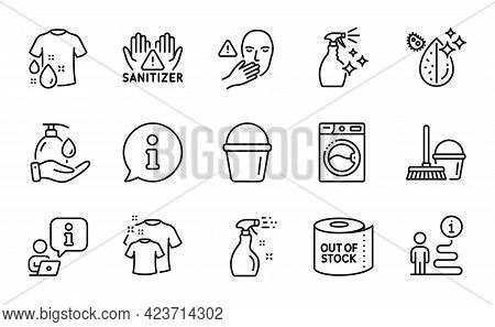 Cleaning Icons Set. Included Icon As Dirty Water, Clean Hands, Washing Machine Signs. Bucket, Cleani