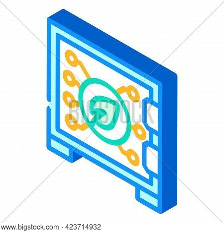 Safe Electronic For Protect Chia Cryptocurrency Isometric Icon Vector. Safe Electronic For Protect C
