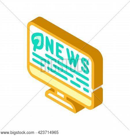 News Internet Chia Cryptocurrency Isometric Icon Vector. News Internet Chia Cryptocurrency Sign. Iso