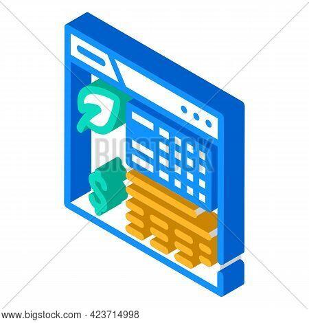 Analysis Chia Cryptocurrency Isometric Icon Vector. Analysis Chia Cryptocurrency Sign. Isolated Symb
