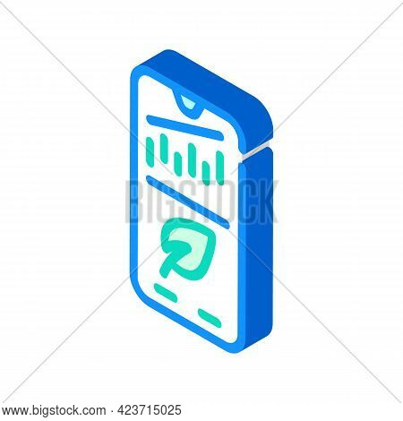 Phone Application For Monitoring Chia Cryptocurrency Rate Isometric Icon Vector. Phone Application F