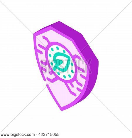 Digital Protection Chia Cryptocurrency Isometric Icon Vector. Digital Protection Chia Cryptocurrency
