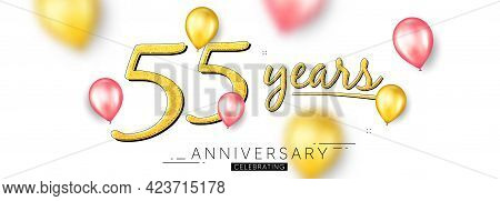 55 Years Anniversary. Happy Birthday Balloons Background. Fifty Five Years Celebration Icon. Anniver