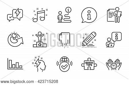 Education Icons Set. Included Icon As Safe Time, Job Interview, Quick Tips Signs. Winner, Lightning