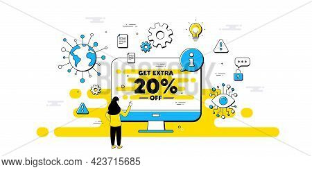 Get Extra 20 Percent Off Sale. Internet Safe Data Infographics. Discount Offer Price Sign. Special O